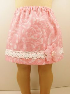 Doll Skirt For 18 Inch Doll Clothes Pink and White Floral Print Skirt - for inspiration