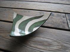 Ceramic Triangle Tray  Green and White  Ceramics by WhiteCitrus, $25.00