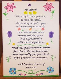 Kindergarten Teacher Personalized Poem by KimMadsen on Etsy, $29.00