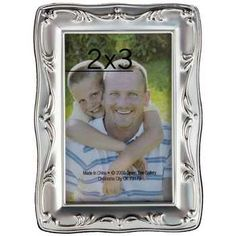 "2"" x 3"" Silver Photo Frame with Scroll Pattern"