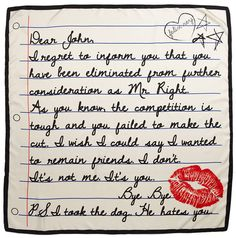 a break up letter scarf dear john haha laughter bye bye independent