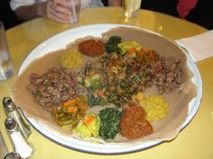 Ever try Ethiopian food? I highly recommend it! If you're in LA, try Little Ethiopia Restaurant in Little Ethiopia (on Fairfax).