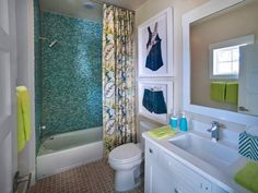 HGTV Smart Home 2013 – Kids Bathroom featuring Sherwin-Williams paint colors Maison Blanche (SW 7526) and Pure White (SW 7005)
