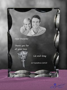 Wedding thank-you engraved in crystal by Crystals3DEngraving