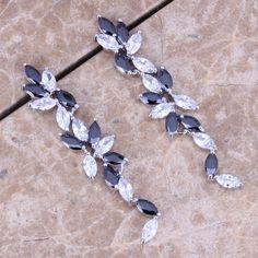 Белый CZ Черный Создания Сапфир Падения Стерлингового Серебра 925 Мотаться Серьги Для Женщин S0197