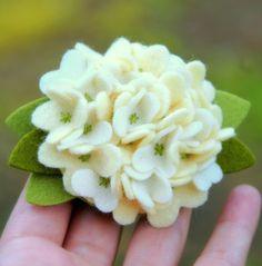 felt hydrangea - cute boutonniere idea?