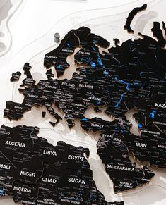 Custom Black World Travel Map by GaDenMap. Push Pin Map, Travel Map with Pins, World Map Wall Art Wood, Wood Wall Art Map, Wood Map Large, Travel Map Push Pin. This stylish world map is made of thick PVC and is push pin ready! Wood World Map can be used as a travel map. Pin board for your ideas, business development places, travel destination and just random notes of happiness. Large wall art decor and a place for inspiration! #woodenwalldecor #nurserydecor #kitchenwalldecorideas