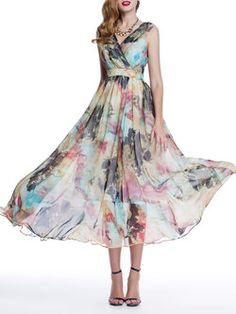 A-line Floral Sleeveless Floral-print Beach Maxi Dress