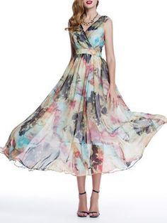 A-line Floral Sleeveless Floral-print Beach Maxi Dress
