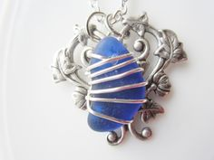 Rare Cobalt Blue Beach Glass In Heart Setting #Necklace