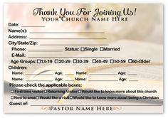 Welcome Visitor Cards Ministry Greetings Christian