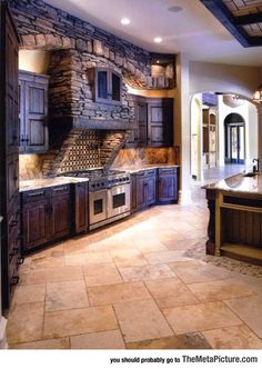 Stone kitchen love this! My dream kitchen (: Stone Kitchen, Rustic Kitchen, New Kitchen, Awesome Kitchen, Kitchen Ideas, Purple Kitchen, Vintage Kitchen, Kitchen Interior, Cozy Kitchen