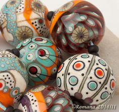 "Artisan Lampwork Beads by Romana - ""Turquoise Music"" #ArtisanLampworkBeads"