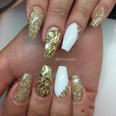 Gold Glitter + Gold Flakes + White Coffin Nails #nail #nailart Mylar Glitter Flakes