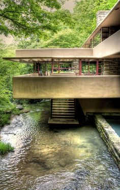 Frank Lloyd Wright's Fallingwater in Pennsylvania.  In compliance with Fallingwater photo policies, this photo is strictly for private personal use, and as such also falls under Creative Commons Attribution-NonCommercial-NoDerivs 3.0 Unported.