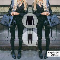 E todo mundo de vez em quando se rende à elegância e praticidade de um look all black... ⚫️  #inspiraçãobásica #calçaportoalegre #blusazurich