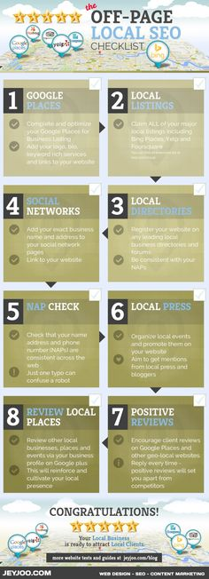 The Off-Page SEO Checklist for Local Business. Get your business noticed. EXPERT SEO ADVICE to help your local business claim your local listings and DOMINATE SEARCH RANKINGS.  #localsearch #localseo #webdesign