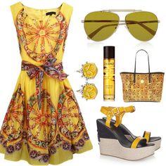 Yellow Sleeveless Wheel Print Belt Back Zipper Dress