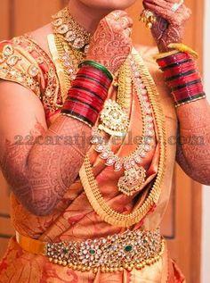 Jewellery Designs: Bride in Mango Haar and Kundan Vaddanam
