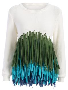 Crew Neck Color Block Fringed Sweater #CLICK! #clothing, #shoes, #jewelry, #women, #men, #hats