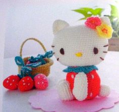 Crochet Amigurumi Pattern - Hello Kitty Strawberry