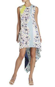 Helene Sleeveless Print-Blocked Dress | BCBG