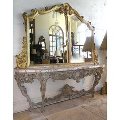 Very Large Italian Rococo Style Gilt, Marble and Painted Console and Mirror Antique Console Table, Entryway Console, Console Tables, Foyer, Victorian Furniture, Victorian Decor, Diy Furniture Plans, Furniture Design, Rococo Style