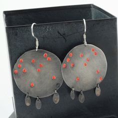 Red puddles sterling silver earrings