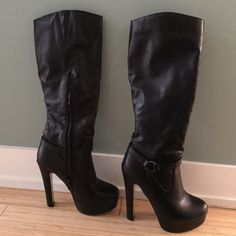 """Amazing Boots Gorgeous black pleather knee high boots. Excellent condition. Only sign of wear is on the soles. Cute buckle details and inside zip closure for easy on/off. Fits true to size. Approximate 5 1/2"""" heel with 1 1/2"""" platform. JustFab Shoes Heeled Boots"""