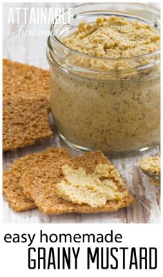 Grainy mustard - it's a snap to make at home! Two ingredients (well, three if you count water) and five minutes is all it takes to assemble this recipe. (Two Ingredients Water) Antipasto, Homemade Mustard, 5 Rs, Mustard Recipe, Homemade Seasonings, Sauces, Fermented Foods, Canning Recipes, Dessert