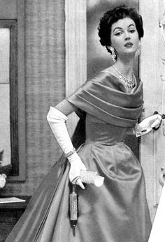 """this is how we dressed in the late 50's & 60's for weddings, etc. gloves and all...gowns always made by """"Millie"""""""