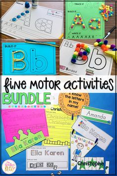 Fine motor alphabet activities are a fun learning center for preschool and kindergarten kids. This bundle includes 6 different resources perfect for any PreK, Kindergarten, or 1st Grade classroom. #finemotorskills #alphabetactivities #kindergarten