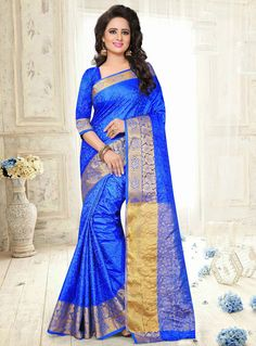 Blue Art Silk Festival Wear Saree 91691