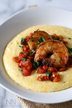 Spicy Shrimp Over Creamy Polenta - Nutmeg Nanny