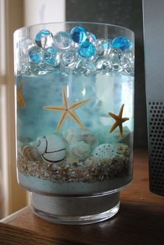 Seashells Suspended In Clear Water Beads Sooper Cheep Pinterest Vases The O Jays And Logos