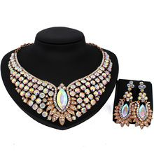 Luxury jewelry gold plated necklace and earrings set with full AB Rhinestones Crystal Wedding Jewelry Sets(China (Mainland))