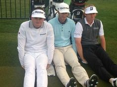"Keegan Bradley, Dustin Johnson (the best ever), and Brandt Snedeker ""dufnering"" lolz...this is epic"