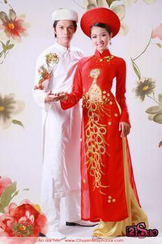 Ao dai, red traditional vietnamese wedding dress