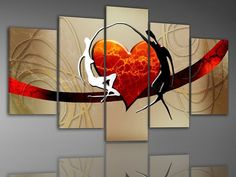 handmade high quality art wall passion love home decoration abstract oil painting on canvas 5pcs/set  no frame free shipping on AliExpress.com. $63.00