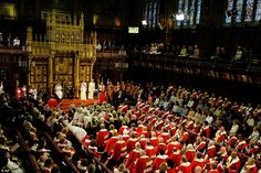 The monarch reads the Queen's Speech from the throne during the State Opening of Parliament in the House of Lords