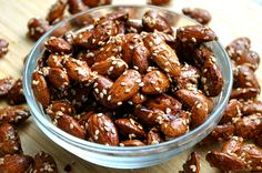Glazed Sesame Seed Almonds. I wouldn't want them spicy, but they sound good.
