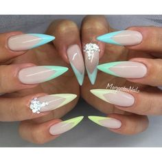 Spring stiletto nails pastel nail art 2016 nailfashion