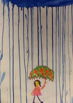 Rainy days. I'm convinced this could have writing and story possibilities .1st grade one day project. Watered down tempera paint. Glue on the cut out figure leaving the paper under the umbrella.