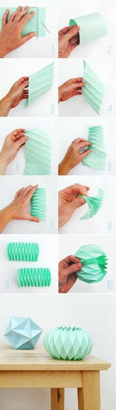 DIY Lampen aus Papier Origami Lampenschirm basteln                                                                                                                                                      Mehr