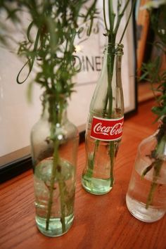Vintage Coke bottle centerpiece display for a diner themed birthday party {Leah Fruth Photography}