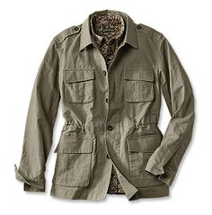 Shop Orvis today for stylish and rugged jackets for men. Find the perfect jacket, from Orvis' Heritage Field Coat to other classic and enduring styles. Wax Jackets, Outerwear Jackets, Safari Outfits, Safari Clothes, Travel Blazer, Safari Vest, Summer Jacket, Field Jacket, Mens Clothing Styles