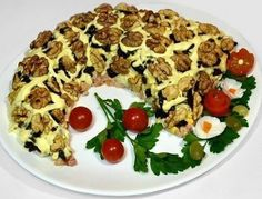Salad «Horn of Plenty» | My favorite recipes #puffsalad Ukrainian Recipes, Russian Recipes, Cornucopia Recipe, Pesto Shrimp, Smoked Chicken, Chicken Salad Recipes, Stop Eating, Snacks, International Recipes