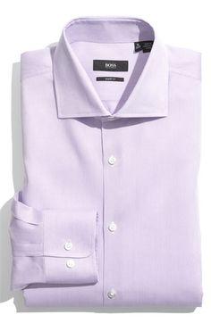 BOSS HUGO BOSS 'Miles' Sharp Fit Tonal Stripe Cotton Dress Shirt available at #Nordstrom
