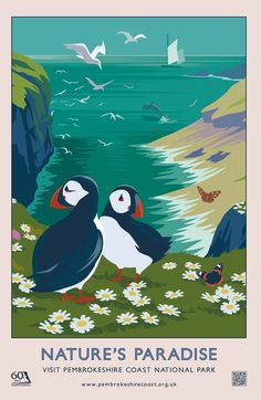 London design agency Hatched brought back the nostalgic travel poster design style with these Pembrokeshire coast national park summer and autumn campaigns. Retro Poster, Vintage Poster, Vintage Travel Posters, Vintage Postcards, Posters Uk, Railway Posters, Illustrations And Posters, Party Vintage, Vintage Diy