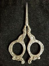 Antique Sterling Silver Victorian Sewing Scissors, Floral Design